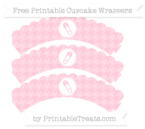 Free Pink Houndstooth Pattern Diaper Pin Scalloped Cupcake Wrappers