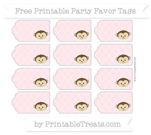 Free Pink Moroccan Tile Boy Monkey Party Favor Tags