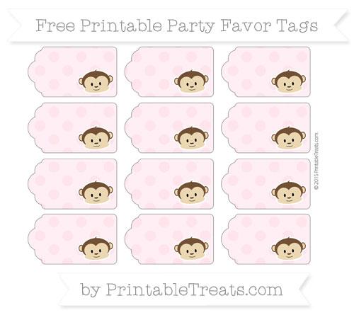 Free Pink Polka Dot Boy Monkey Party Favor Tags