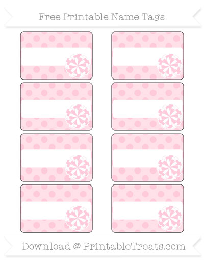 Free Pink Polka Dot Cheer Pom Pom Tags