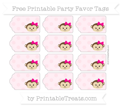 Free Pink Polka Dot Girl Monkey Party Favor Tags
