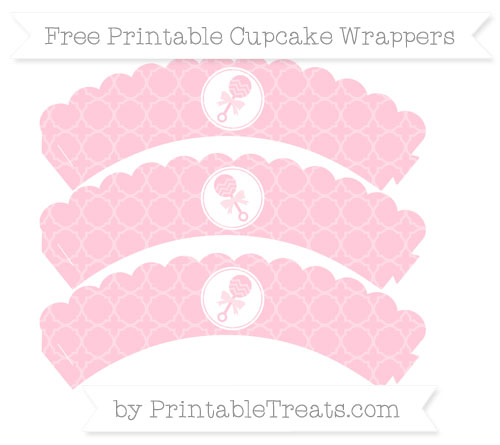 Free Pink Quatrefoil Pattern Baby Rattle Scalloped Cupcake Wrappers