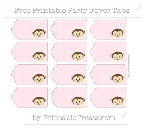 Free Pink Quatrefoil Pattern Boy Monkey Party Favor Tags
