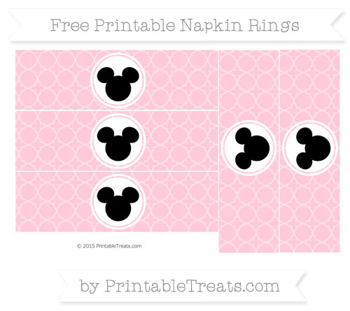 Free Pink Quatrefoil Pattern Mickey Mouse Napkin Rings