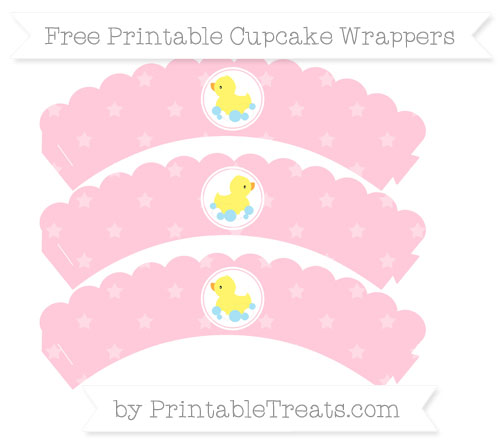Free Pink Star Pattern Baby Duck Scalloped Cupcake Wrappers