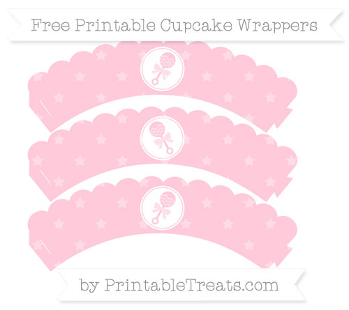 Free Pink Star Pattern Baby Rattle Scalloped Cupcake Wrappers
