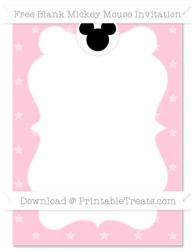 Free Pink Star Pattern Blank Mickey Mouse Invitation