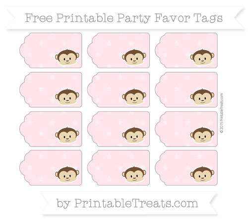 Free Pink Star Pattern Boy Monkey Party Favor Tags