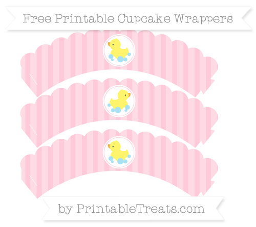 Free Pink Striped Baby Duck Scalloped Cupcake Wrappers
