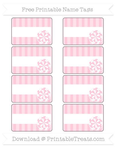 Free Pink Striped Cheer Pom Pom Tags