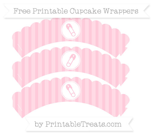 Free Pink Striped Diaper Pin Scalloped Cupcake Wrappers