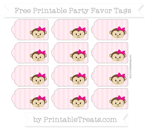 Free Pink Striped Girl Monkey Party Favor Tags