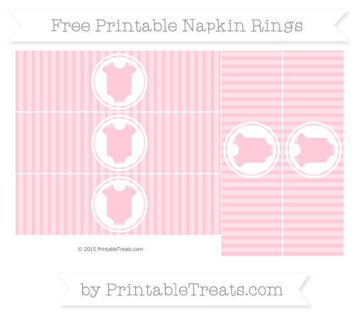 Free Pink Thin Striped Pattern Baby Onesie Napkin Rings