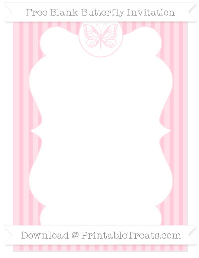 Free Pink Thin Striped Pattern Blank Butterfly Invitation