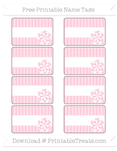 Free Pink Thin Striped Pattern Cheer Pom Pom Tags