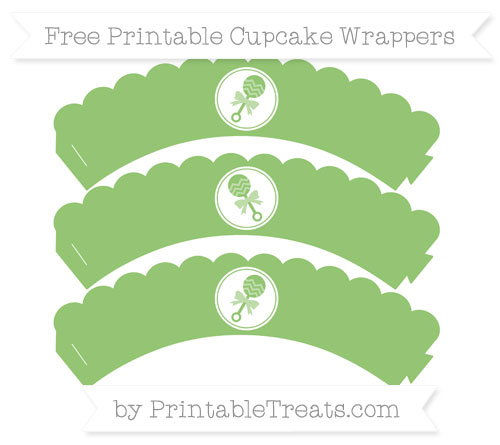 Free Pistachio Green Baby Rattle Scalloped Cupcake Wrappers
