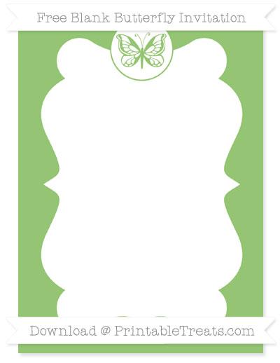Free Pistachio Green Blank Butterfly Invitation
