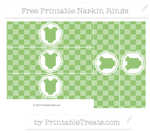 Free Pistachio Green Checker Pattern Baby Onesie Napkin Rings