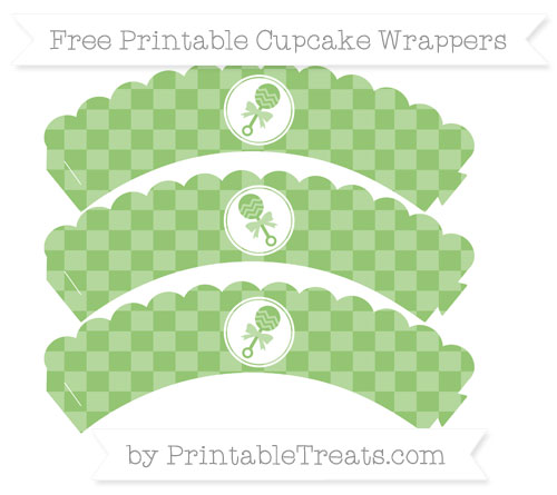 Free Pistachio Green Checker Pattern Baby Rattle Scalloped Cupcake Wrappers