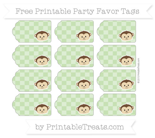Free Pistachio Green Checker Pattern Boy Monkey Party Favor Tags