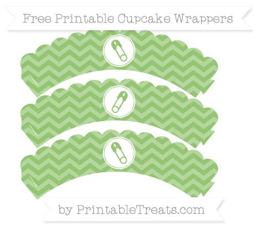 Free Pistachio Green Chevron Diaper Pin Scalloped Cupcake Wrappers