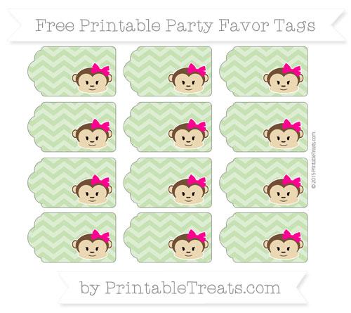 Free Pistachio Green Chevron Girl Monkey Party Favor Tags