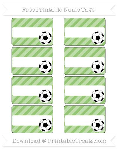 Free Pistachio Green Diagonal Striped Soccer Name Tags