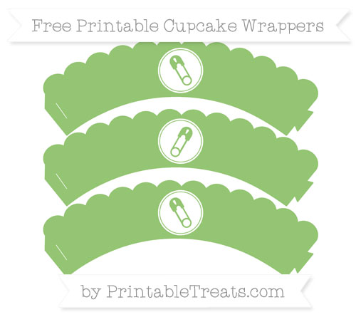 Free Pistachio Green Diaper Pin Scalloped Cupcake Wrappers