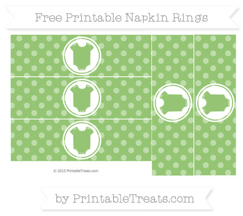 Free Pistachio Green Dotted Pattern Baby Onesie Napkin Rings