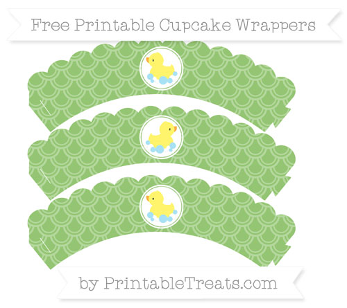 Free Pistachio Green Fish Scale Pattern Baby Duck Scalloped Cupcake Wrappers