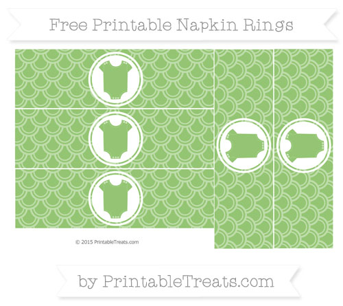 Free Pistachio Green Fish Scale Pattern Baby Onesie Napkin Rings