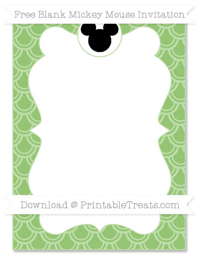 Free Pistachio Green Fish Scale Pattern Blank Mickey Mouse Invitation