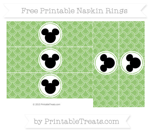 Free Pistachio Green Fish Scale Pattern Mickey Mouse Napkin Rings