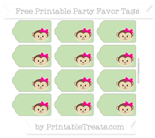 Free Pistachio Green Girl Monkey Party Favor Tags