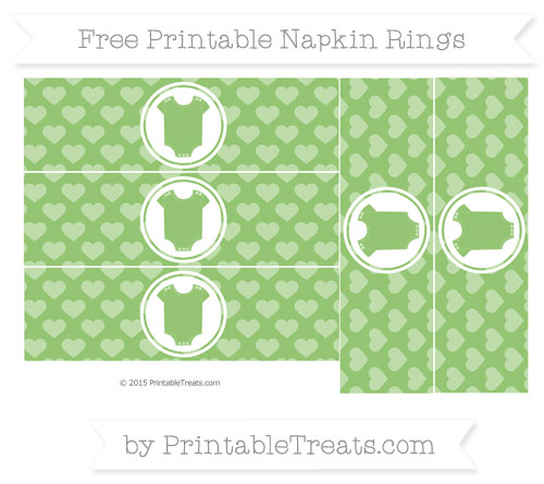 Free Pistachio Green Heart Pattern Baby Onesie Napkin Rings