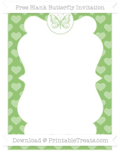 Free Pistachio Green Heart Pattern Blank Butterfly Invitation