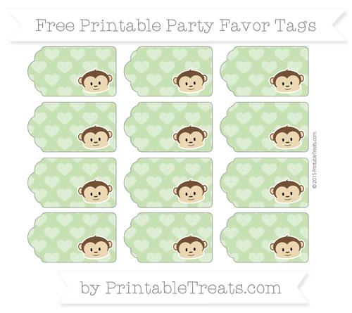 Free Pistachio Green Heart Pattern Boy Monkey Party Favor Tags
