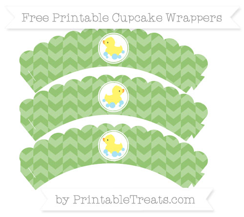Free Pistachio Green Herringbone Pattern Baby Duck Scalloped Cupcake Wrappers