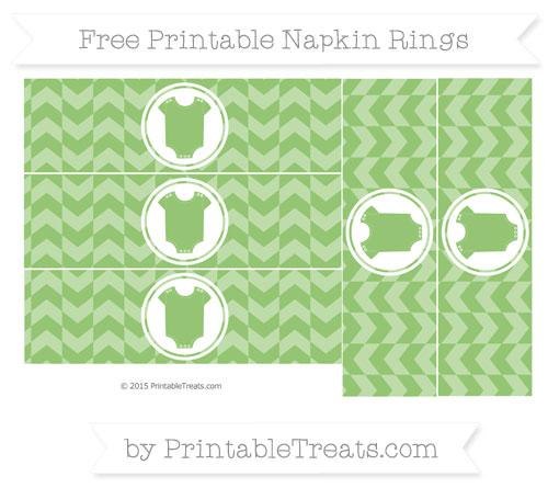 Free Pistachio Green Herringbone Pattern Baby Onesie Napkin Rings