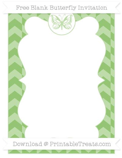 Free Pistachio Green Herringbone Pattern Blank Butterfly Invitation