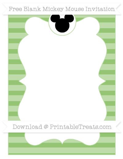 Free Pistachio Green Horizontal Striped Blank Mickey Mouse Invitation