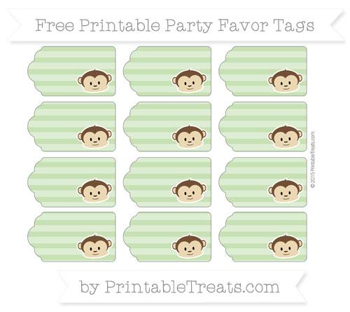 Free Pistachio Green Horizontal Striped Boy Monkey Party Favor Tags