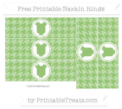 Free Pistachio Green Houndstooth Pattern Baby Onesie Napkin Rings