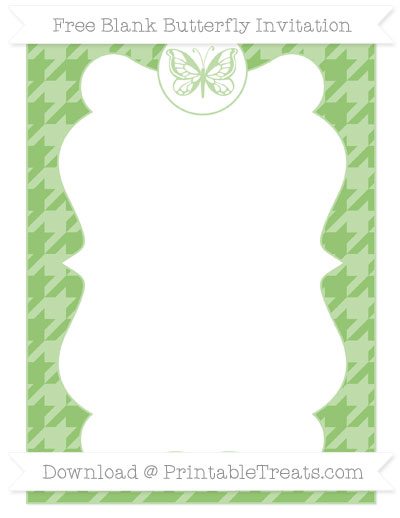 Free Pistachio Green Houndstooth Pattern Blank Butterfly Invitation