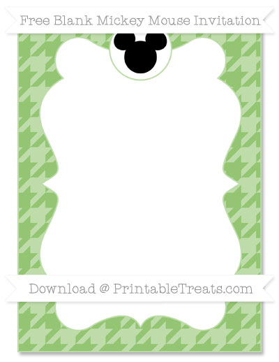 Free Pistachio Green Houndstooth Pattern Blank Mickey Mouse Invitation