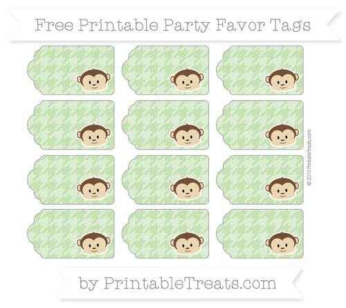 Free Pistachio Green Houndstooth Pattern Boy Monkey Party Favor Tags