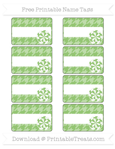 Free Pistachio Green Houndstooth Pattern Cheer Pom Pom Tags