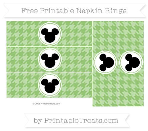 Free Pistachio Green Herringbone Pattern Mickey Mouse Napkin Rings