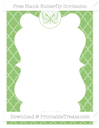 Free Pistachio Green Moroccan Tile Blank Butterfly Invitation