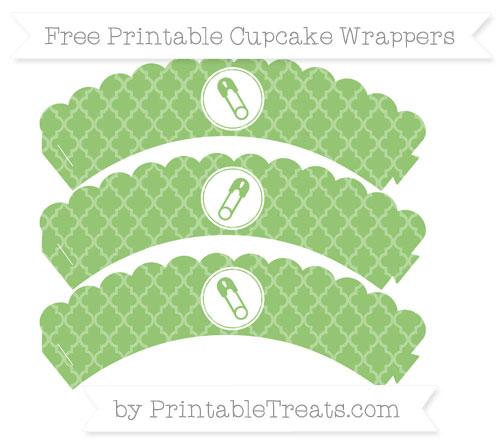 Free Pistachio Green Moroccan Tile Diaper Pin Scalloped Cupcake Wrappers